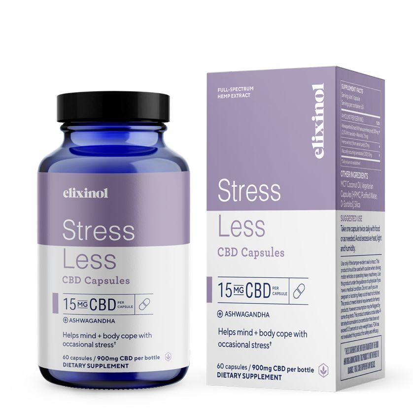 Stress Less CBD + Ashwagandha 900 mg 60 Vegetarian Capsules