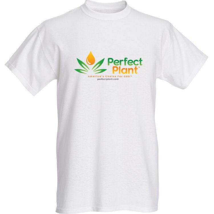 Hemp T-Shirt Perfect Plant Logo Men White