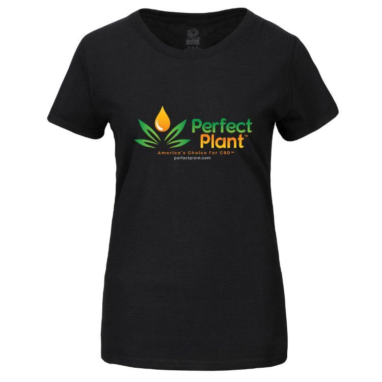 Hemp T-Shirt Perfect Plant Logo Women Black