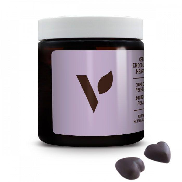 CBD Dark Chocolate Hearts with 70% Organic Raw Cacao Chocolate Flavor 300 mg 2 oz. (56.7 g)