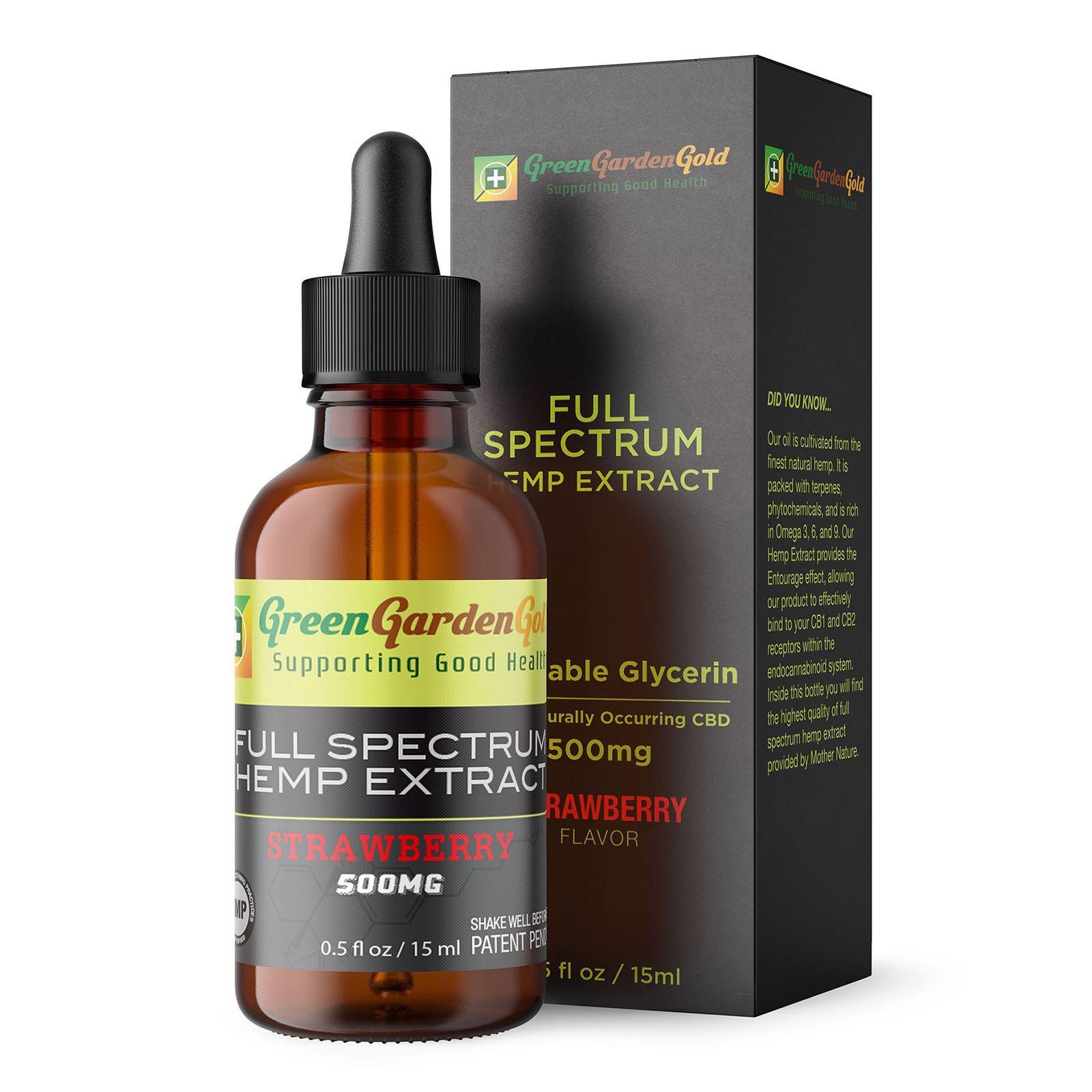 CBD Oil Full-Spectrum Strawberry 500 mg 0.5 fl. oz. (15 mL)