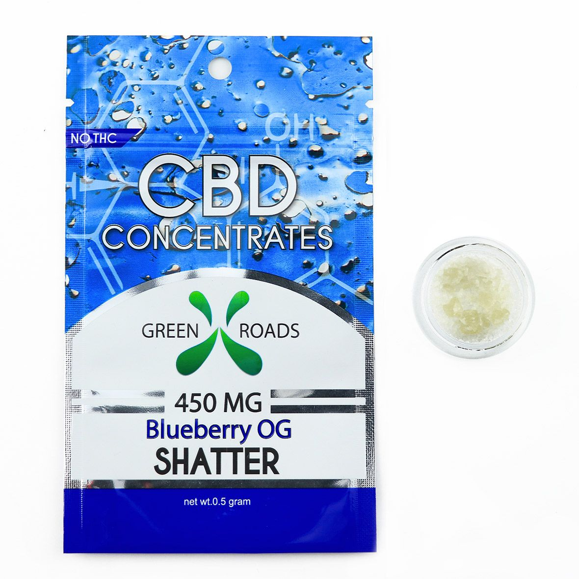CBD Concentrates Shatter Blueberry OG 450 mg 0.5 g