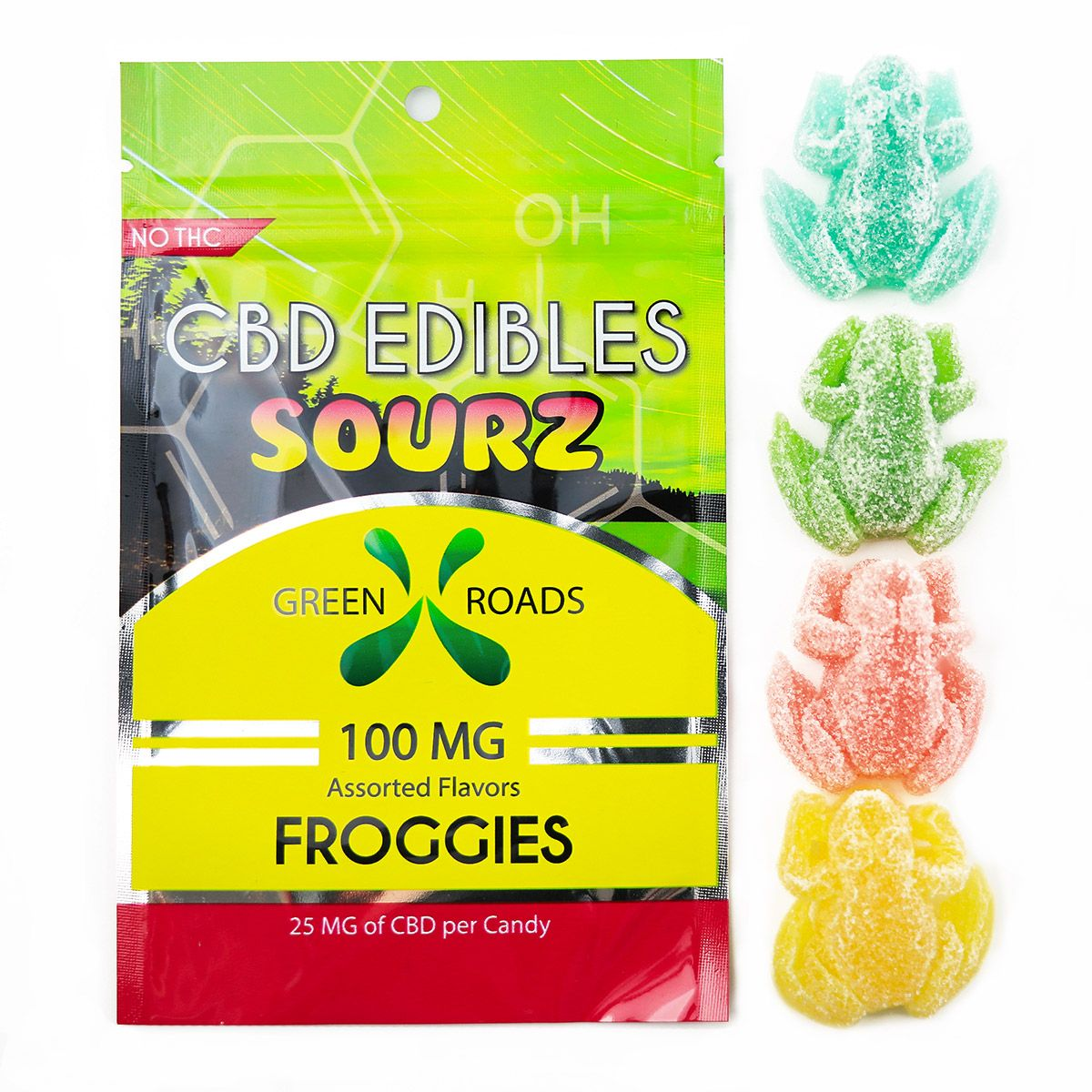 CBD Gummy Froggies (Sour) Assorted Flavors 100 mg 4 Gummies