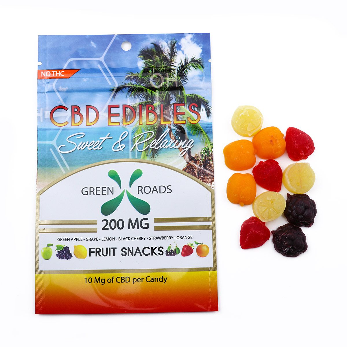 CBD Gummy Fruit Snacks Assorted Flavors 200 mg 20 Gummies