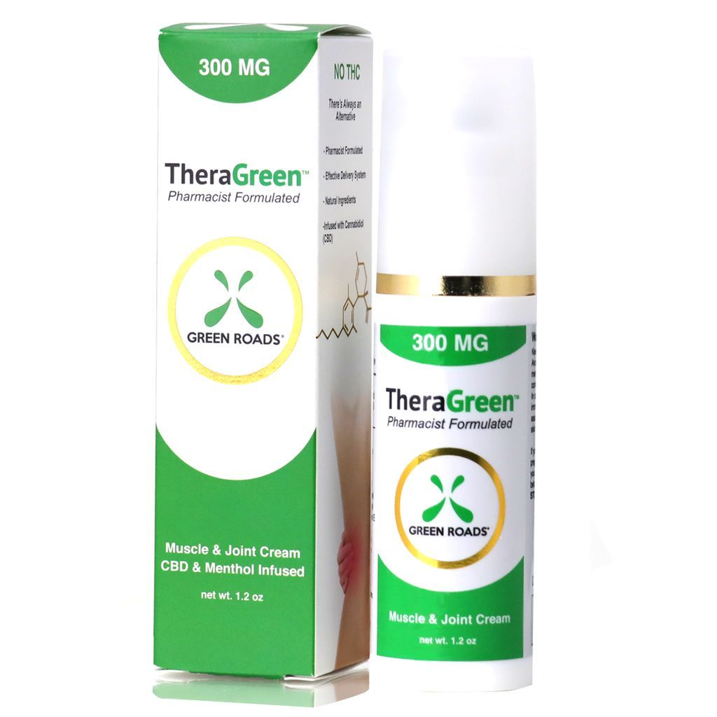 TheraGreen CBD & Menthol Muscle & Joint Cream 300 mg 1.2 oz. (34 g)