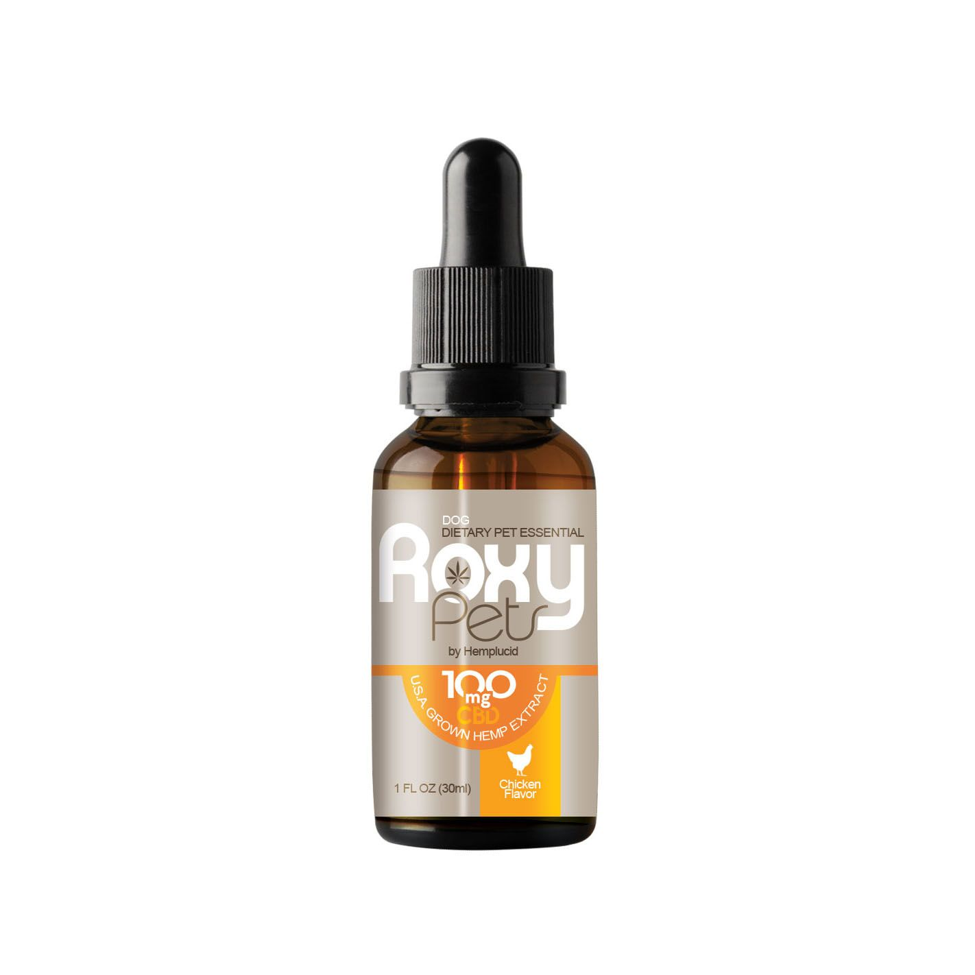 Roxy Pets CBD Oil Whole Plant Extract for Dogs Chicken 100 mg 1 fl. oz. (30 mL)
