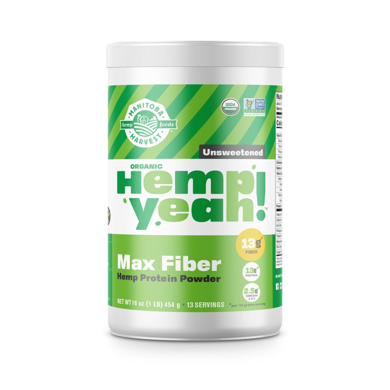 Hemp Yeah! Max Fiber Hemp Protein Powder Unsweetened 16 oz. (454 g)