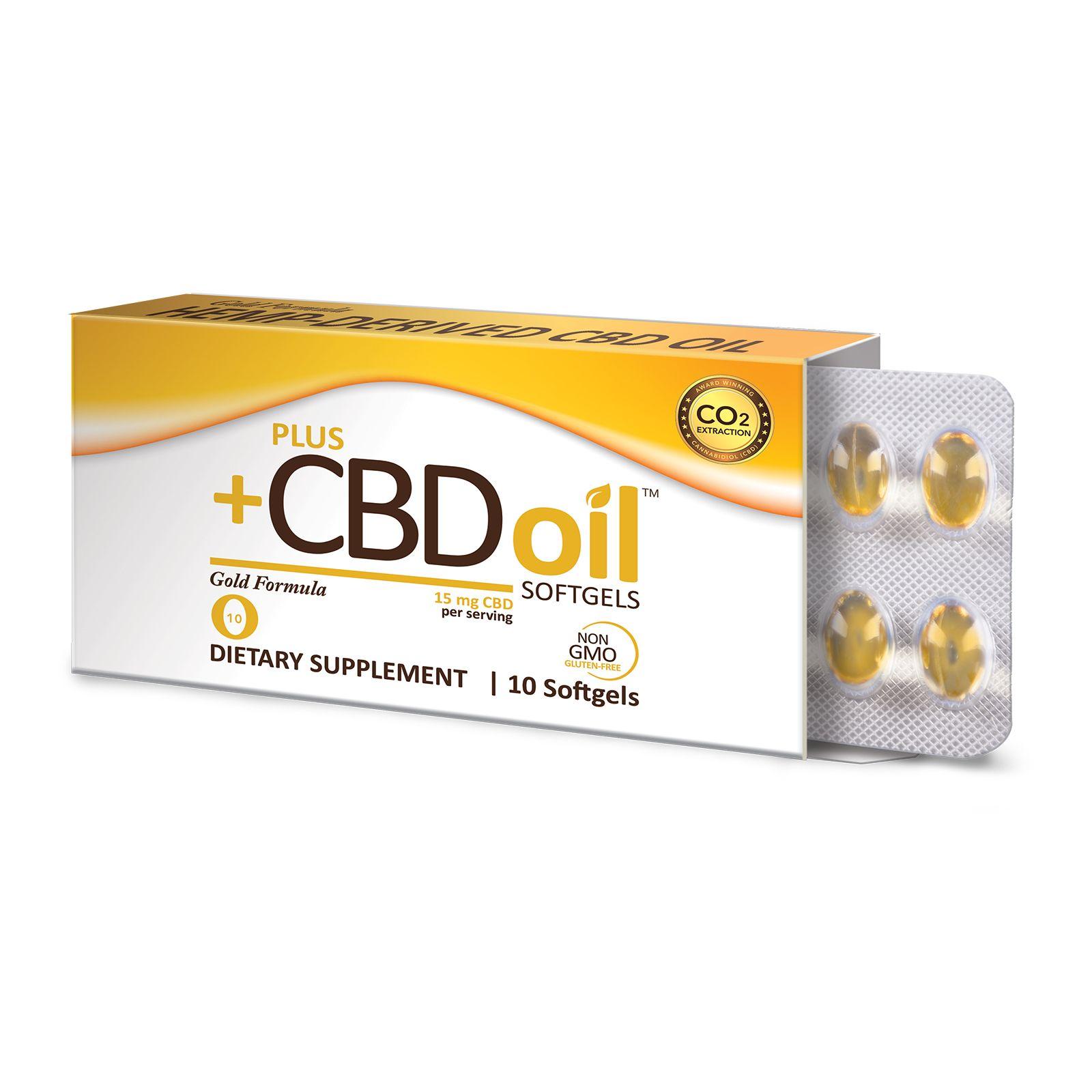 CBD Oil Gold Formula 150 mg 10 Vegetarian Softgels