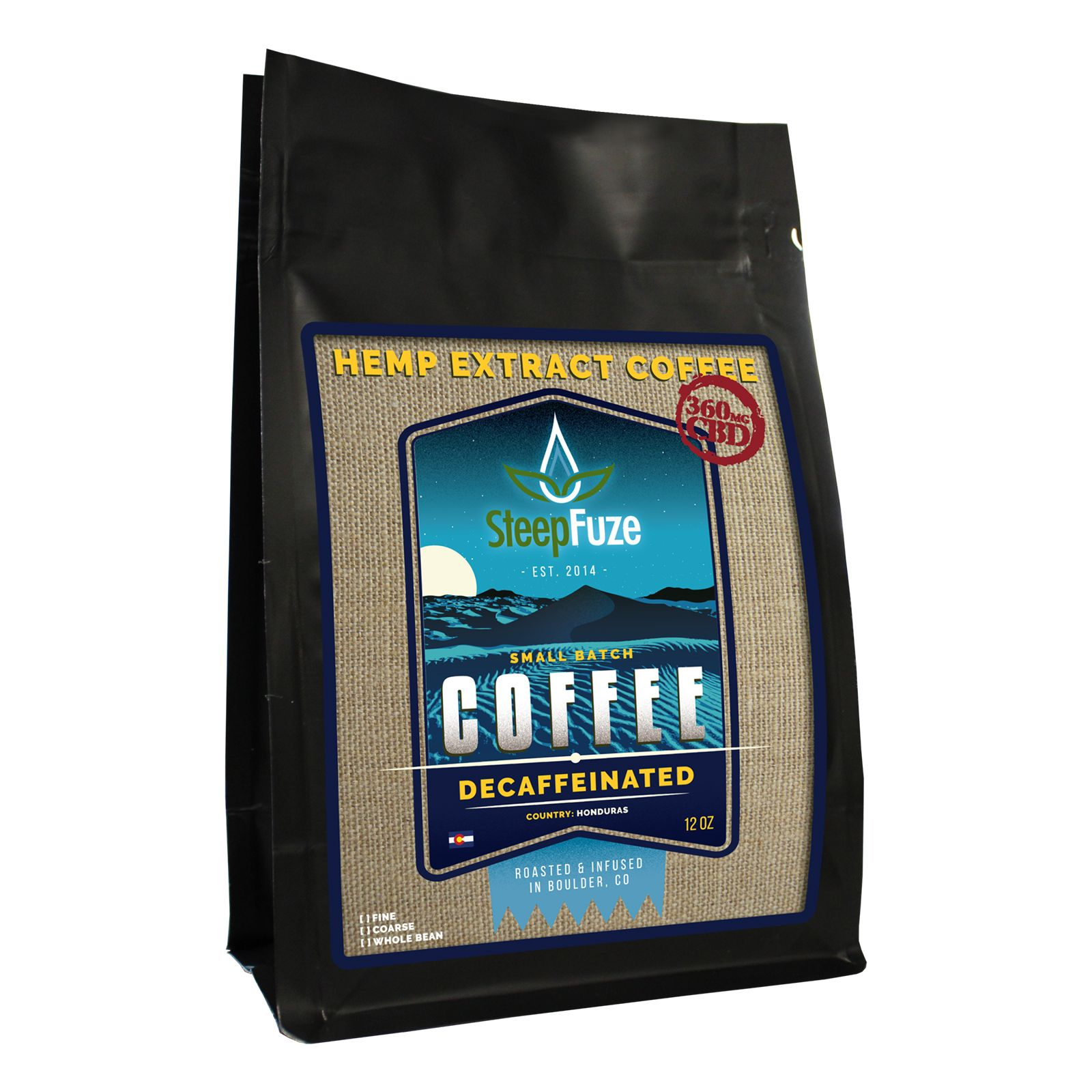 CBD Infused Whole Bean Coffee Decaffeinated 360 mg 12 oz.