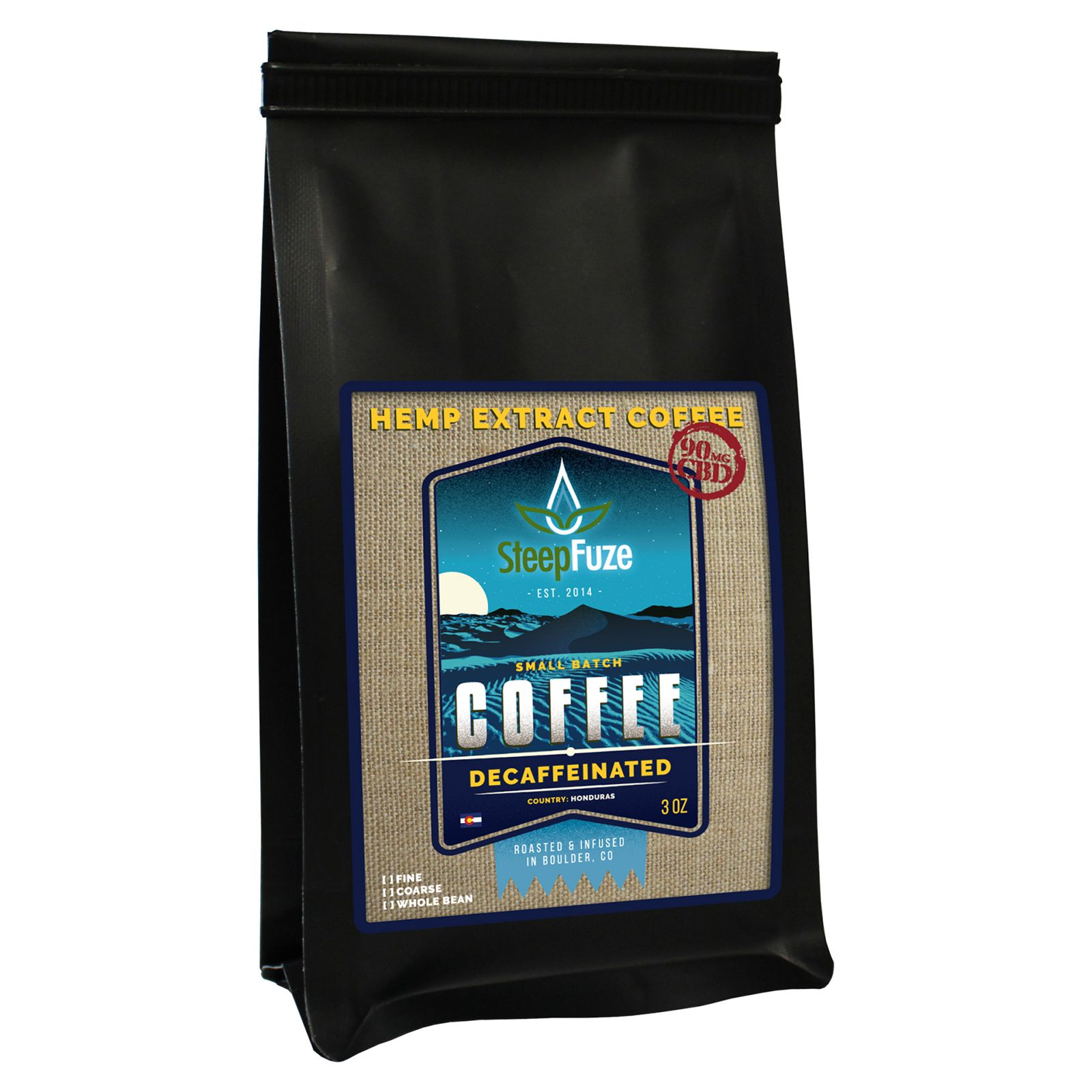 CBD Infused Whole Bean Coffee Decaffeinated 90 mg 3 oz. (85 g)