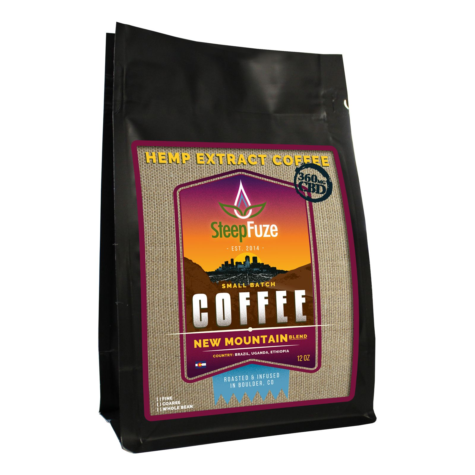 CBD Infused Whole Bean Coffee New Mountain Blend 360 mg 12 oz.