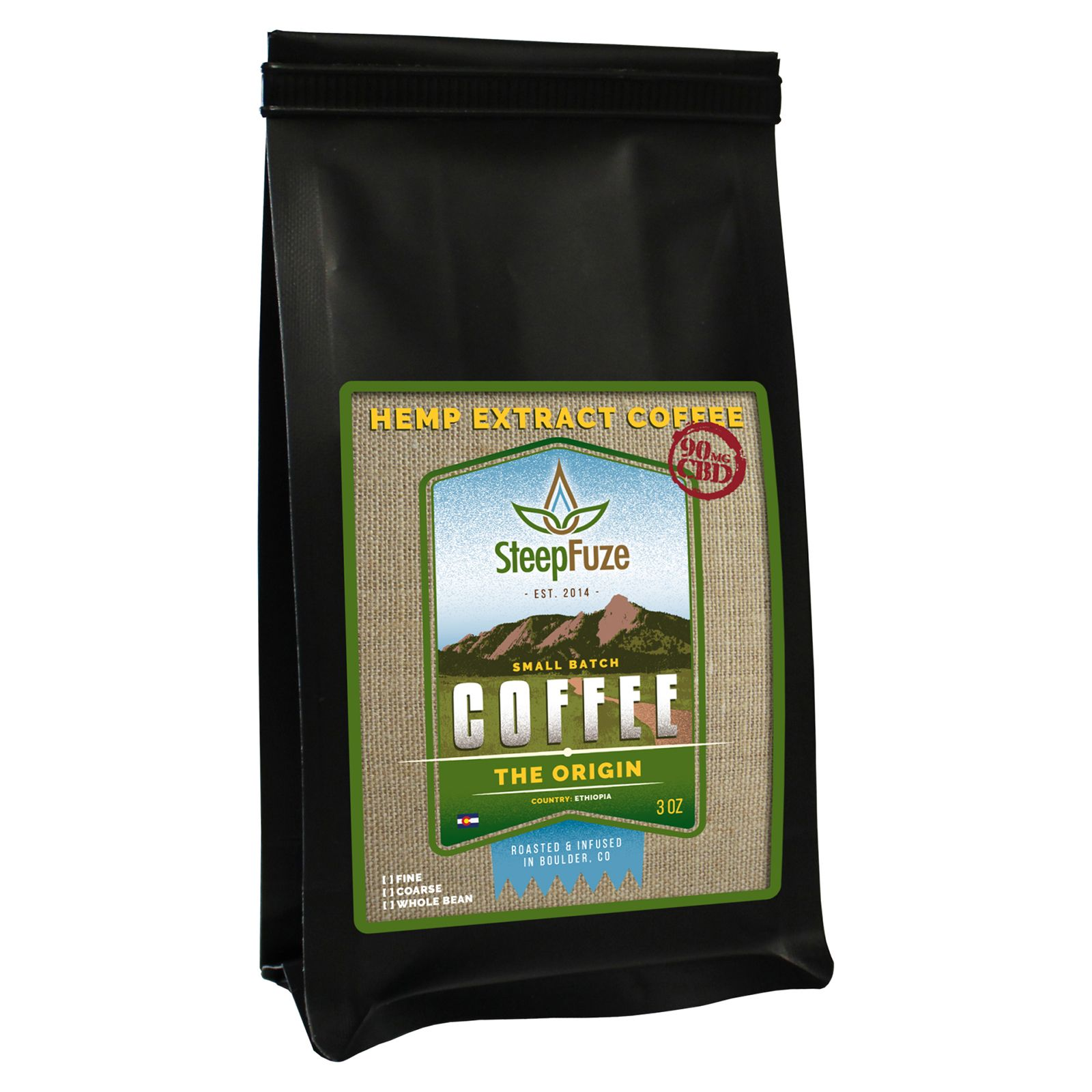 CBD Infused Whole Bean Coffee The Origin 90 mg 3 oz. (85 g)