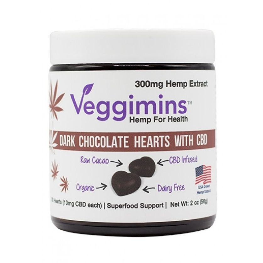 CBD Dark Chocolate Hearts with 70% Organic Raw Cacao Chocolate Flavor 300 mg 2 oz. (56.7 g)