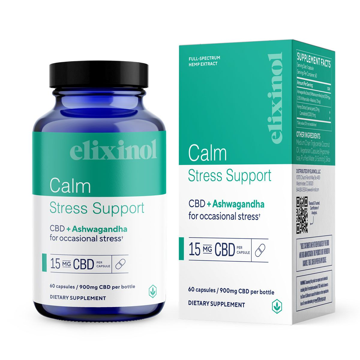 Calm Stress Support CBD + Ashwagandha 900 mg 60 Vegetarian Capsules